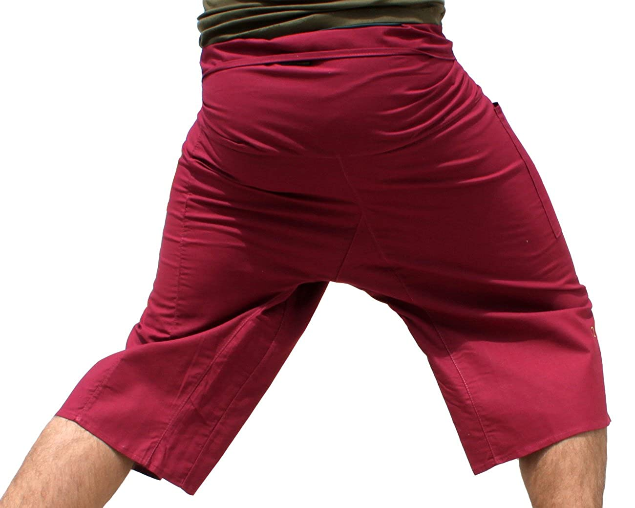 Raan Pah Muang Plain Thin Strong Cotton Thai Fisherman Capri Wrap Pants variant16240AMZ