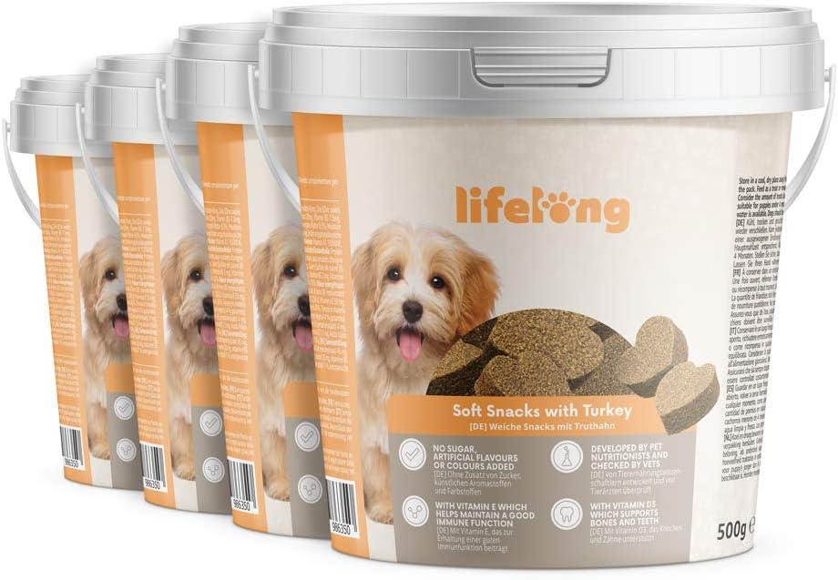 Marca Amazon - Lifelong - Treats para perros, ricos en proteínas, con pavo (4 botes x 500gr)