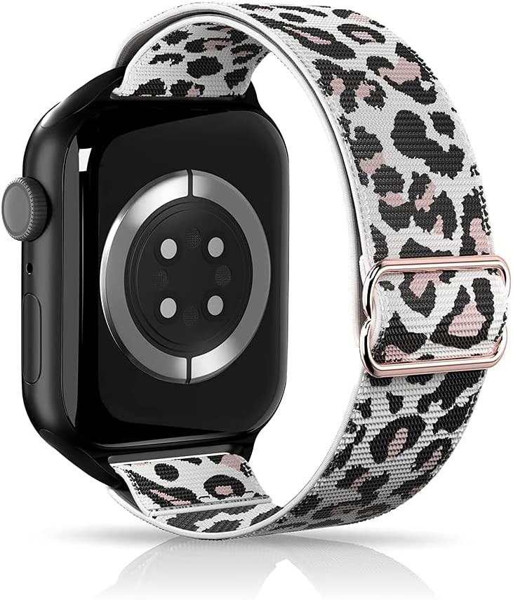 ARCEED Adjustable Stretchy Bands Compatible with Apple Watch Band 38mm 40mm 42mm 44mm,Women Men Elastic Sport Solo Loop Nylon Wristbands for iWatch Series SE/6/5/4/3/2/1(White Leopard,38/40mm)