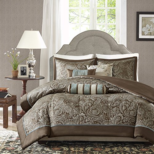 (Madison Park Aubrey Jacquard Duvet Set Size: Queen, Full, Blue,)