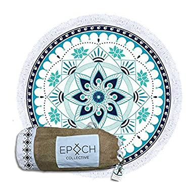 Epoch Collective 59-Inch Aquatic Lotus Velour Round Beach Towel with Duffel Bag
