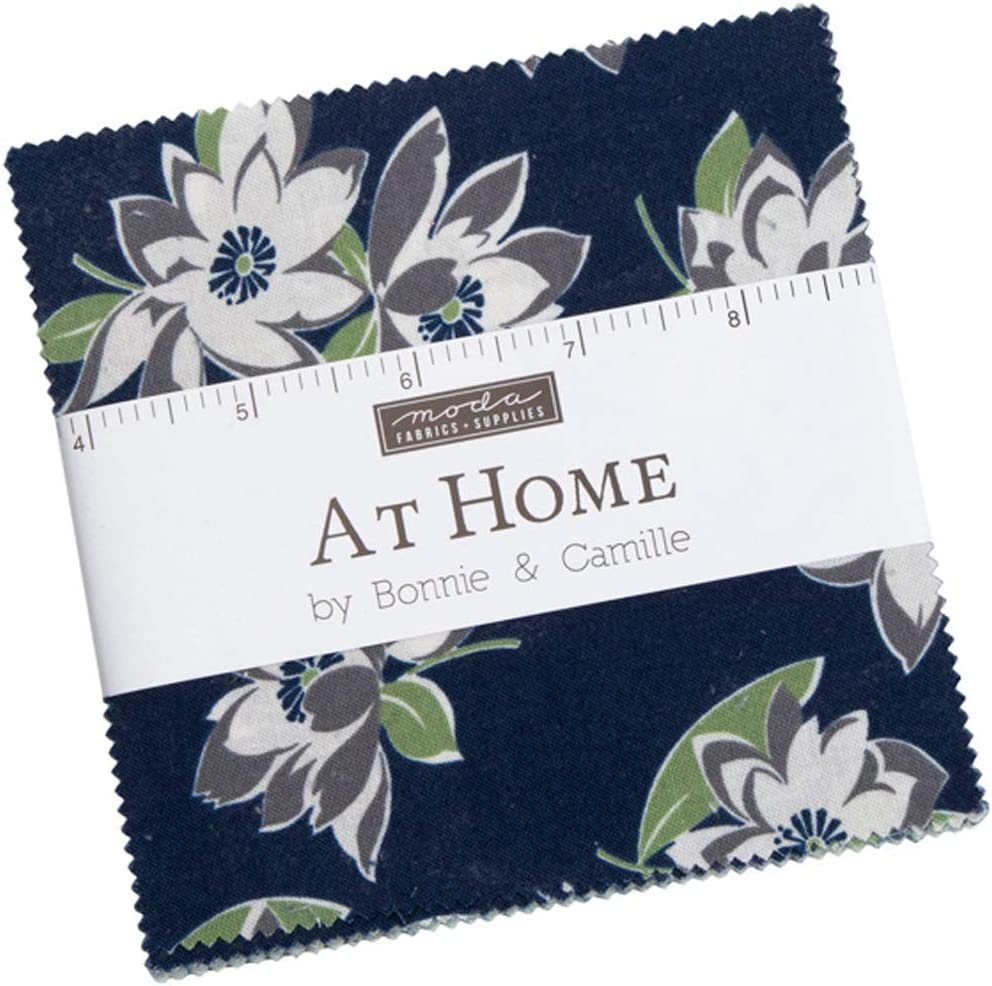 at Home - Camille's House Charm Pack (42 pcs) by Bonnie and Camille for Moda 5 x 5 inches (12.7cm x 12.7cm) Fabric Squares DIY Quilt Fabric