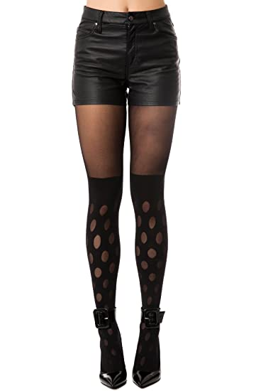 4b6af9d5f44 House of Holland Women s Reverse Polka Dot Tights One Size Black at ...