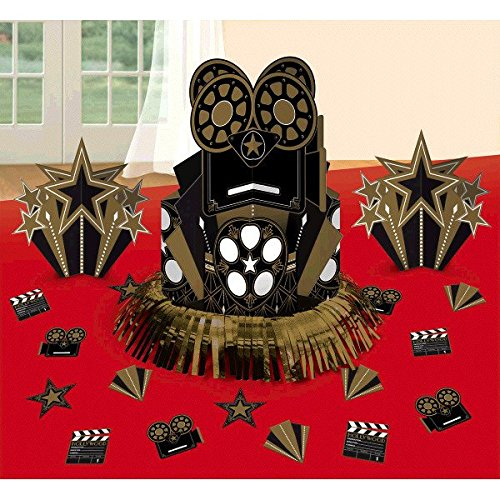 amscan Movie Night Hollywood Themed Movie Night Table Centerpiece (1 Piece), Multi Color, 13.7 x 11.6