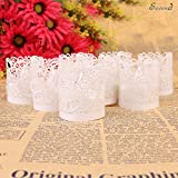 Candle Wraps, Sevend 50 Pieces Tea Light Wraps & Candles Holders for Weeding, Table, Gift, Outdoor(White)