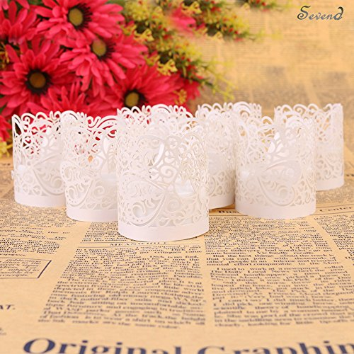 Votive Candle Wraps - Candle Wraps, Sevend 50 Pieces Tea Light Wraps and Candles Holders for Weeding, Table, Gift, Outdoor (White Candle Wraps)