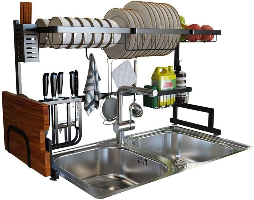 食器棚、シンク上食器乾燥棚、黒201ステンレス鋼キッチン排水棚食器水切りオーガナイザー86 * 31.5 * 52cm