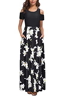 033ac78272 Kancystore Women's Short Sleeve Floral Maxi Dresses Cold Shoulder Dress  with Pockets