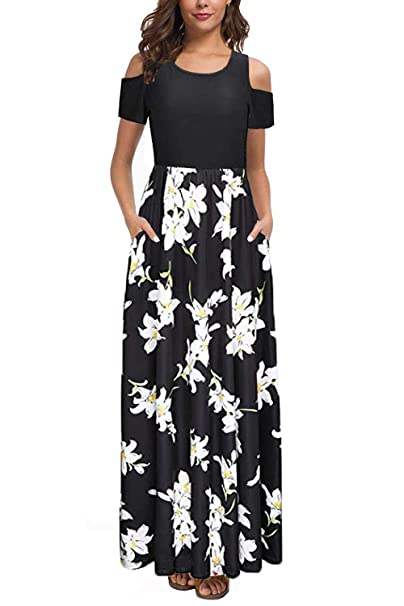 Kancystore Women's Short Sleeve Floral Maxi Dresses Cold Shoulder Dress With Pockets by Kancystore