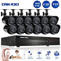 OWSOO 16CH CIF CCTV DVR Security Kit HDMI P2P Cloud Network Digital Video Recorder + 12x 800TVL Outdoor/Indoor Infrared Camera, Support IR-CUT Night Vision Weatherproof Plug and Play