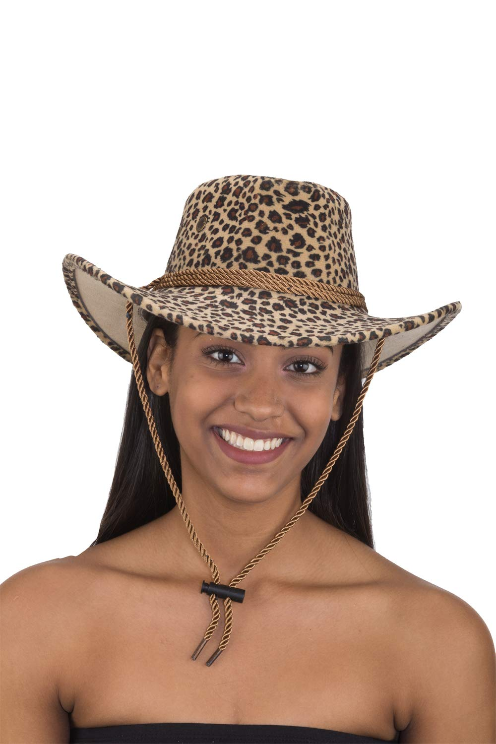 Jacobson Straw Cowboy Hat - Leopard Print Outback with Chin Cord