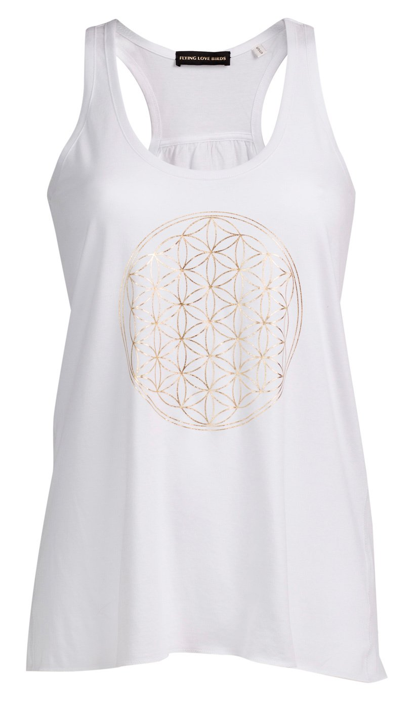 Flying Love Birds Tank Flower of Life - Weiß