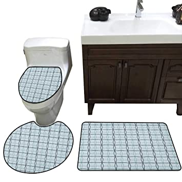 Amazoncom Blue Bath Rug Set Square Patterns With Wavy Lines Spring