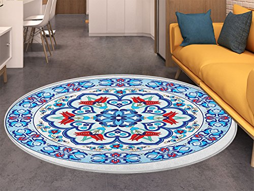 Round Antique Rug Floral (Antique Round Rug Kid Carpet Ottoman Turkish Style Art with Tulip Period Ceramic Floral Elements European Print Home Decor Foor Carpe Multicolor)