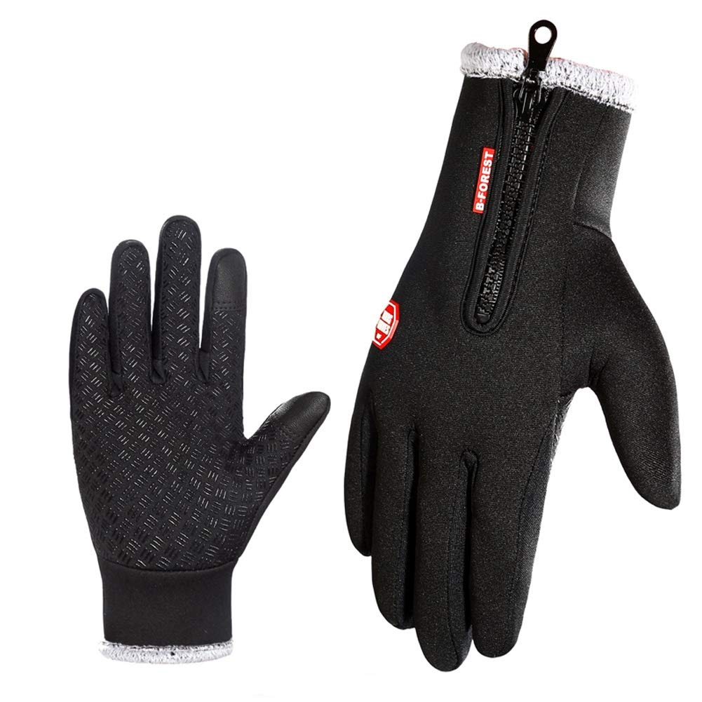 AINIYF Outdoor Gloves | Men's Cycling Motorcycle Leather Gloves Winter Plus Velvet Warm Sports Gloves Women's Windproof Thicken Touchscreen Sports Ski (Size : S)