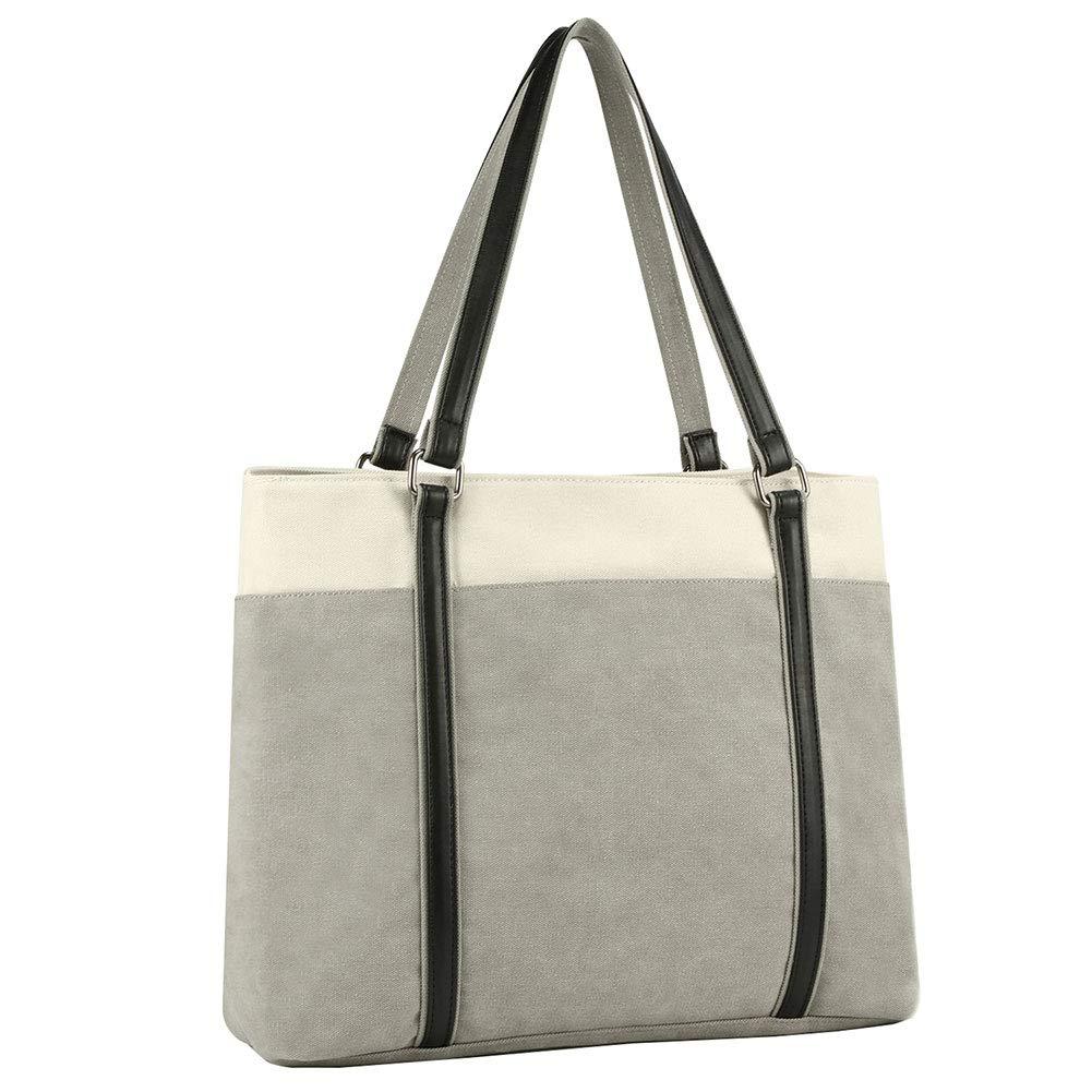 Laptop Tote Bag,XMeng Canvas Shoulder Bag Women 15-15.6 inch Carrying Handbag for Work School,Lightweight Travel Computer Office Briefcase (Gray)