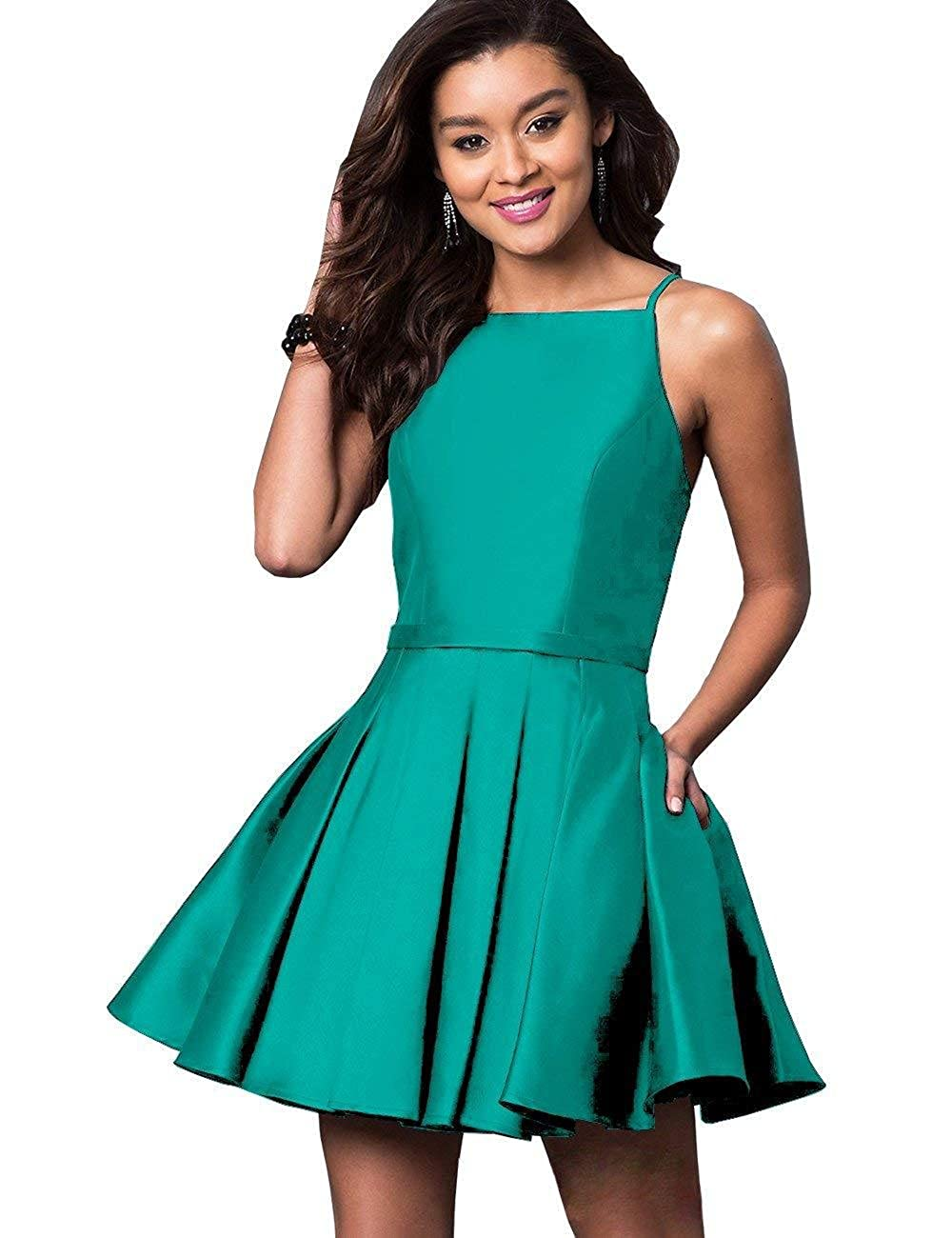 Turquoise NewFex Homecoming Dresses Satin Spaghetti Strap 2018 Aline Short Prom Gown with Pockets