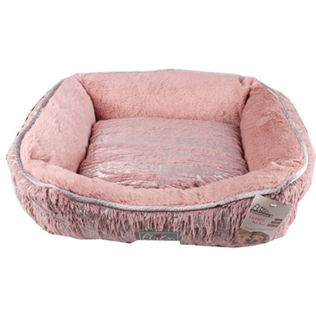 Makan Pet Bed New Elite Bronzing Pet Nest Series Removable And Washable Cat Dog Nest Autumn And Winter Warm And Soft And Comfortable (color   PINK, Size   S)