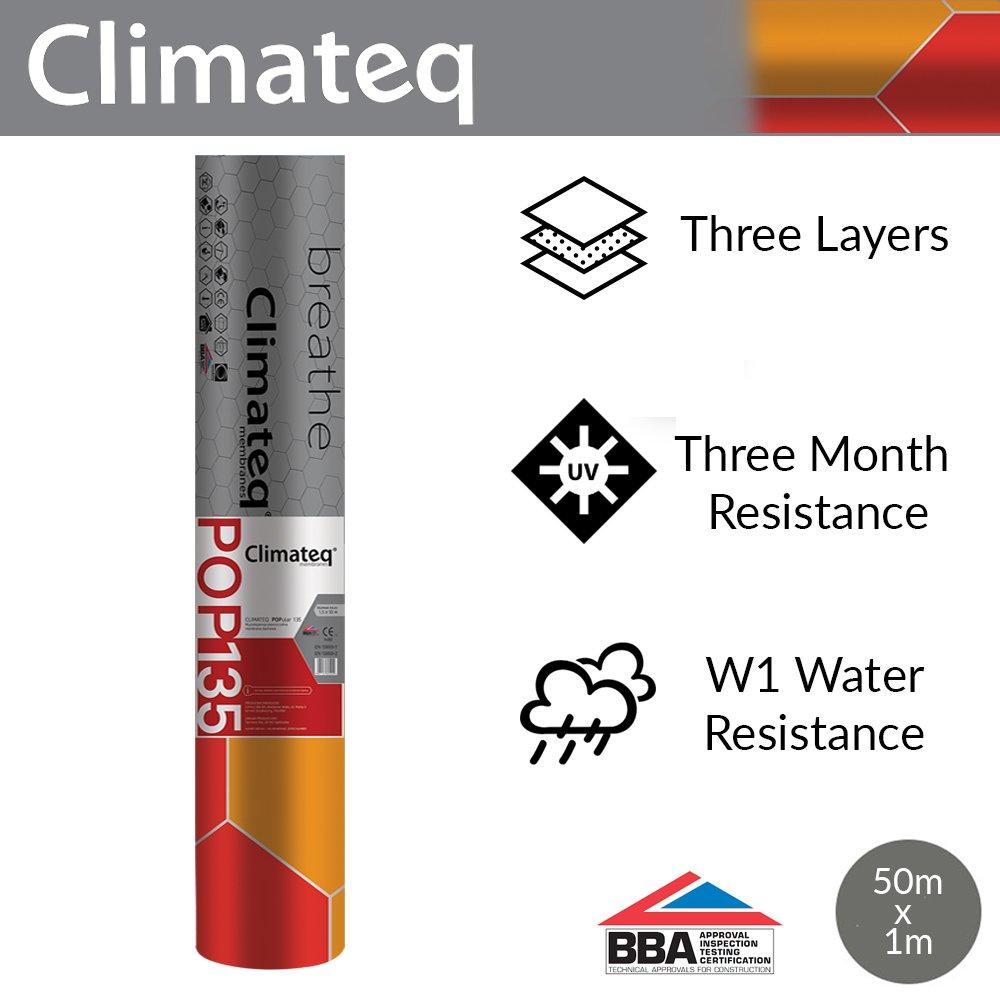Climateq Breather Membrane | Breathable Roof Felt | 1 x 50m | POP100 Wabis