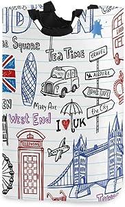 senya London Doodles Large Laundry Basket Shopping Bag, Collapsible Fabric Laundry Hamper, Foldable Clothes Bag, Folding Washing Bin (h)