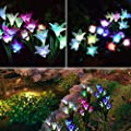 Wohome Outdoor Solar Garden Stake Lights,3 Pack Solar Flower Lights with 12 Lily Flower, Multi-Color Changing LED Solar Landscape Lighting Light for Garden, Patio