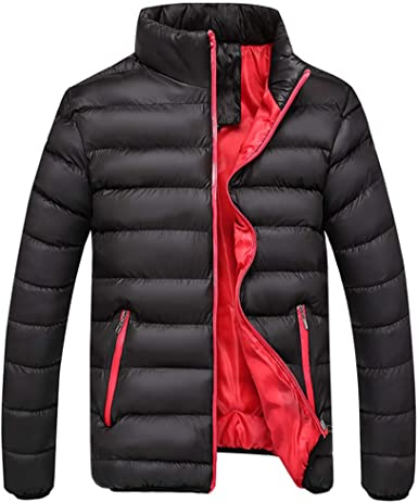 WAWAYA Mens Stand Collar Thicker Plain Zip Front Winter Down Quilted Coat Jacket