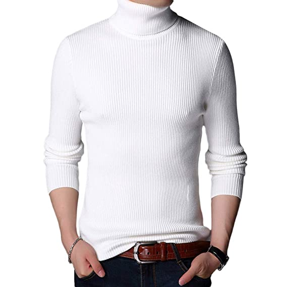 cc139bad5669 Pull Homme - Sweater Uni - Manches Longues - Homme -Pull-Over Tricot Slim
