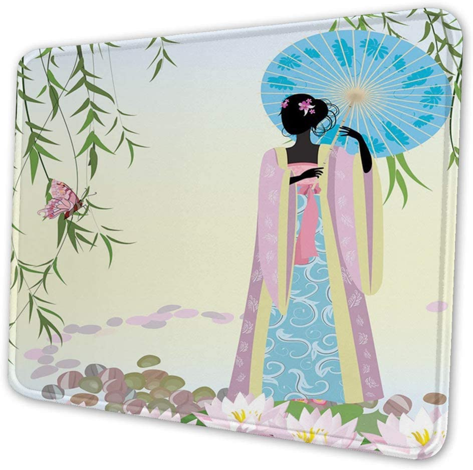 Rectangular Mousemat Mousepad Chinese Digital Artwork of a Woman in a Traditional Dress,7.9 x 9.5 in