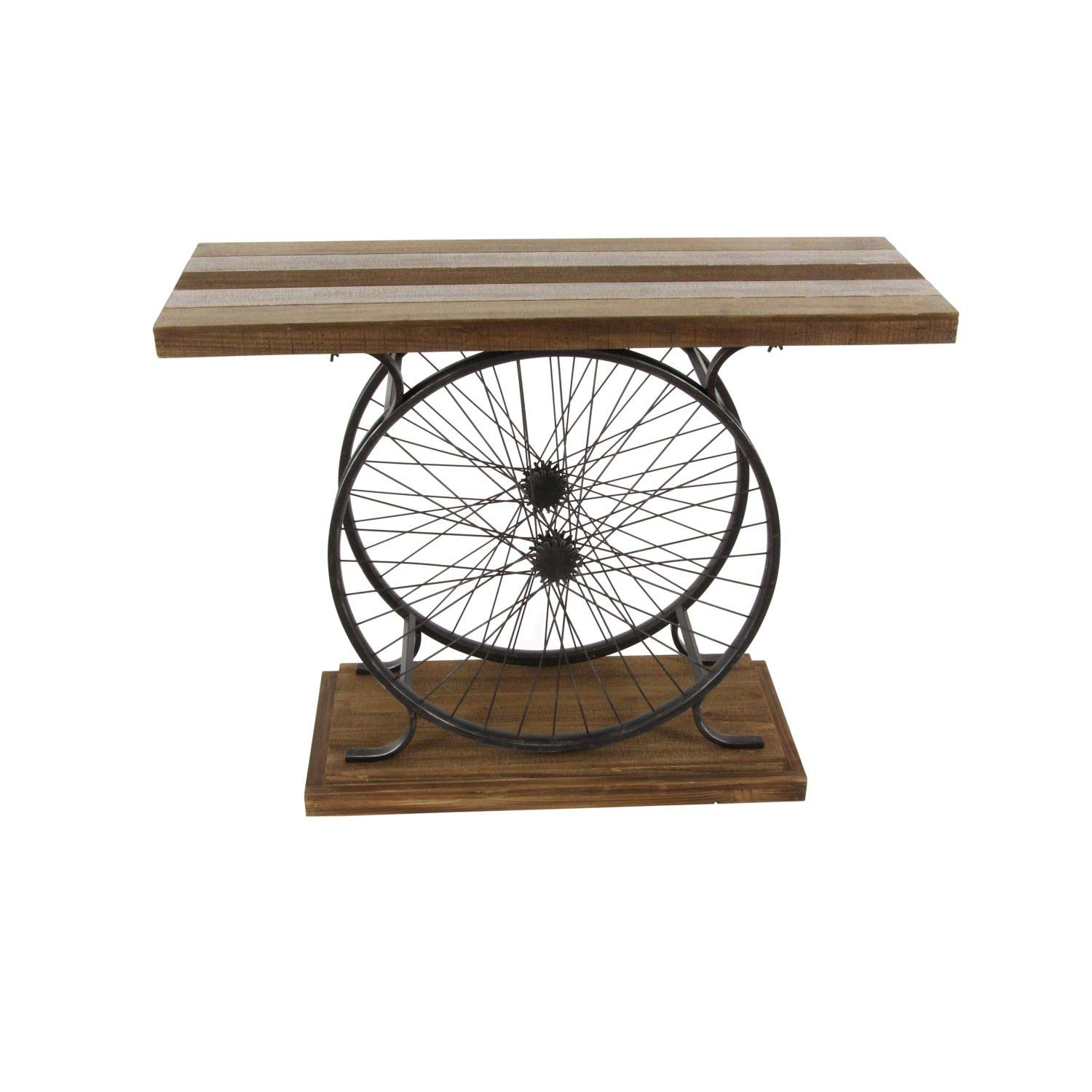 Deco 79 Metal and Wood Wheel Console, Brown Black
