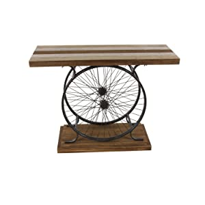 Deco 79 Metal and Wood Wheel Console Brown/Black