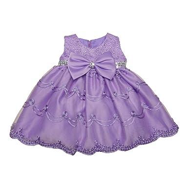 3daa46248d31 Amazon.com  Little Girls Lilac Glitter Sequin Bow Embroidered Flower ...