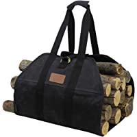 INNO STAGE Canvas Log Carrier Bag,Durable Wood Tote,Fireplace Stove Accessories,Extra Large Firewood Holder with Handles for Camping