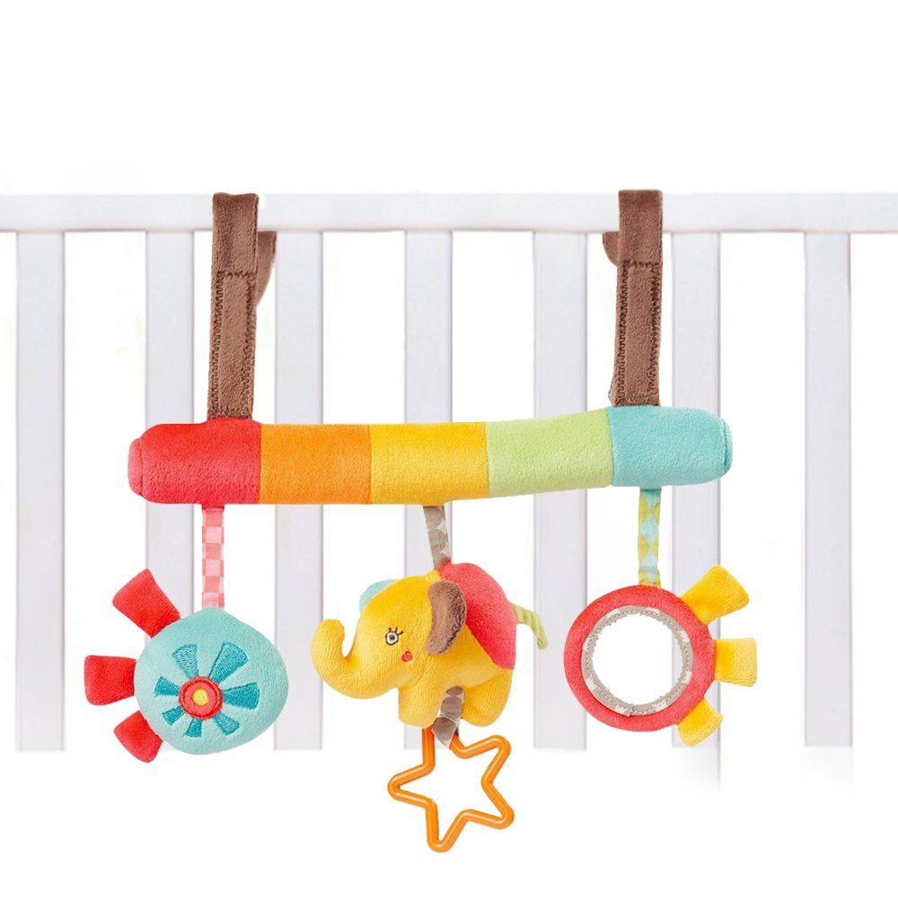 Baby Stroller Toys Hanging Rattles, Playing Crib Bed Playset for Infant Kids, Musical Play Activity Toy Stuffed Animal Elephant Mobile Toy Attachment for Stroller Bassinet