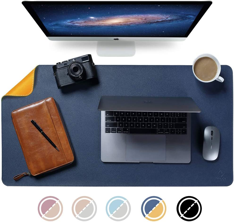 "Knodel Dual-Sided Desk Mat, New Design Desk Pad, Upgrade Sewing PU Leather Desk Blotter Protector, Mouse Pad, Writing Mat for Office and Home (35.4"" x 17"", Dark Blue)"