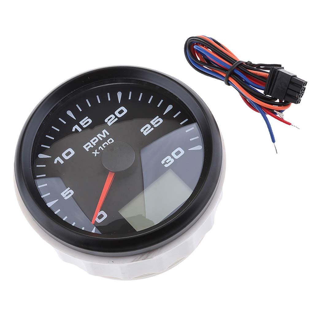 Baosity 2 in 1 Auto-Meter Car Boat Gauge Meter Tachometer Odometer Waterproof 0-3000rpm - Black 2 by Baosity