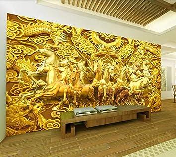Papel pintado mural imagen 3D Mural de papel tapiz personalizado 3 dragón dorado y ocho caballos caballo dorado dormitorio sala de estar pared de fondo