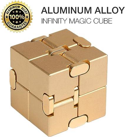 Infinity Cube 100/% Solid Aluminum Metal Fidget Block Stress Relief Toy