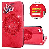 IKASEFU iPhone 5S,iPhone SE Case,3D Clear Crown Rhinestone Diamond Bling Glitter Wallet with Card Holder Emboss Mandala Floral Pu Leather Magnetic Flip Case Protective Cover for iPhone 5S/SE,Red