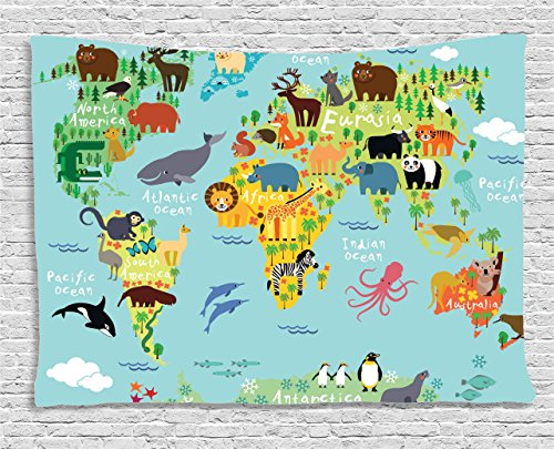 Wanderlust Decor Tapestry by Ambesonne, Distribution of Animals Map Of The World For Children And Kids Cartoon Mountains Forests, Wall Hanging for Bedroom Living Room Dorm, 60W X 40L Inch, Multicolor (Animals Of The World Map)