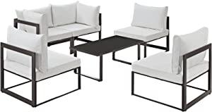 Modway Fortuna 6 Piece Outdoor Patio Sectional Sofa Set in Brown White