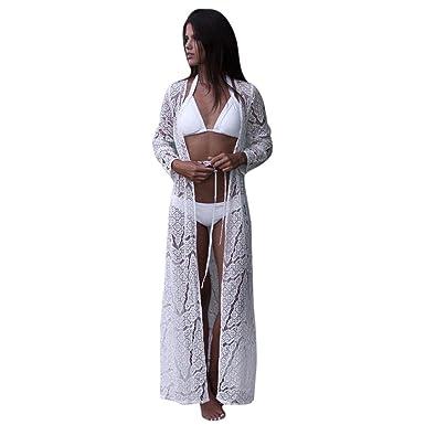 67b21b18295 Sixcup Women Boho Beach Bikini Maxi Cover up Hollow Floral Lace Long Kimono  Long Sleeve Wrap Maxi Kimono Cardigans Casual Coverup Coat Tops Outwear  Baby ...