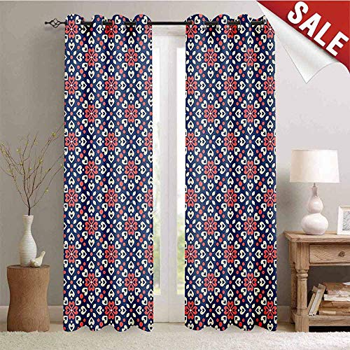 Abstract, Decor Curtains by, Floral Hearts Forming Old Fashioned Mosaic Tiles Shabby Chic Pattern, Room Darkening Wide Curtains, W84 x L96 Inch Night Blue Ivory Coral