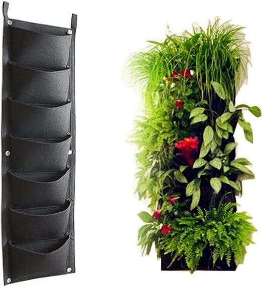 Soporte de pared macetero jardín Vertical, macetas interior, para colgar bolsas de cultivo de 7 bolsillos al aire libre: Amazon.es: Jardín