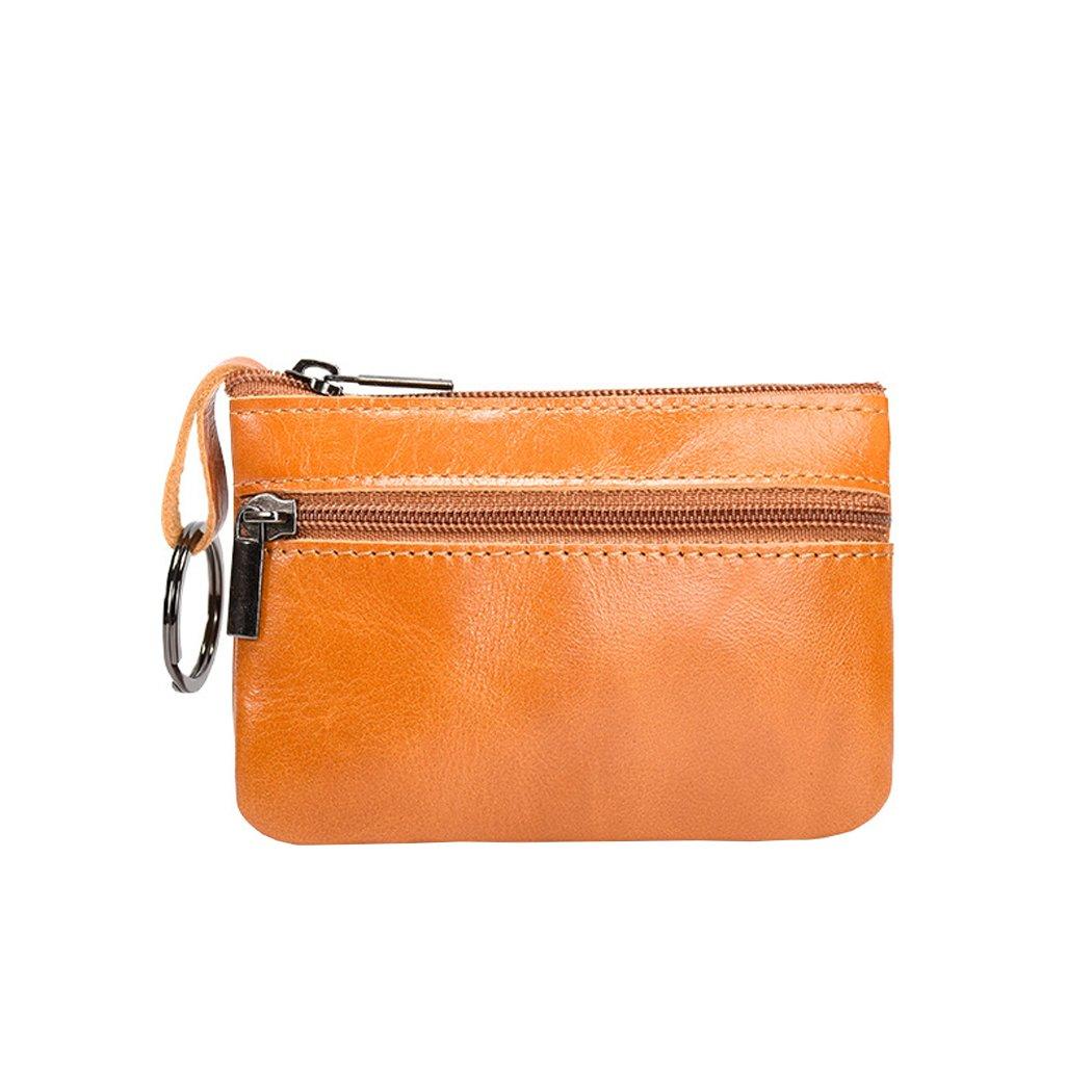 Hommes femmes en cuir véritable portefeuille Zippé avec Porte-Clés Petit Porte-Monnaie