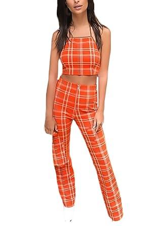 Mujer Conjuntos De Top Y Pantalones 2 Piezas Elegantes Vintage A Cuadros Mono Sin Mangas Espalda Descubierta Crop Top+Pantalon Largo Ropa Fiesta Moda: ...