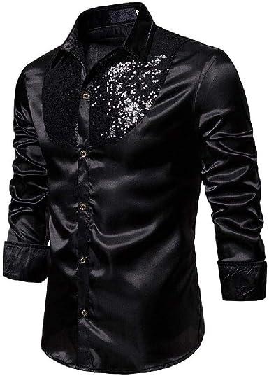 OKJI Camisa de vestir de lentejuelas para hombre de manga larga satinada brillante para fiesta de discoteca, para hombre, baile escénico, para baile de graduación: Amazon.es: Ropa y accesorios