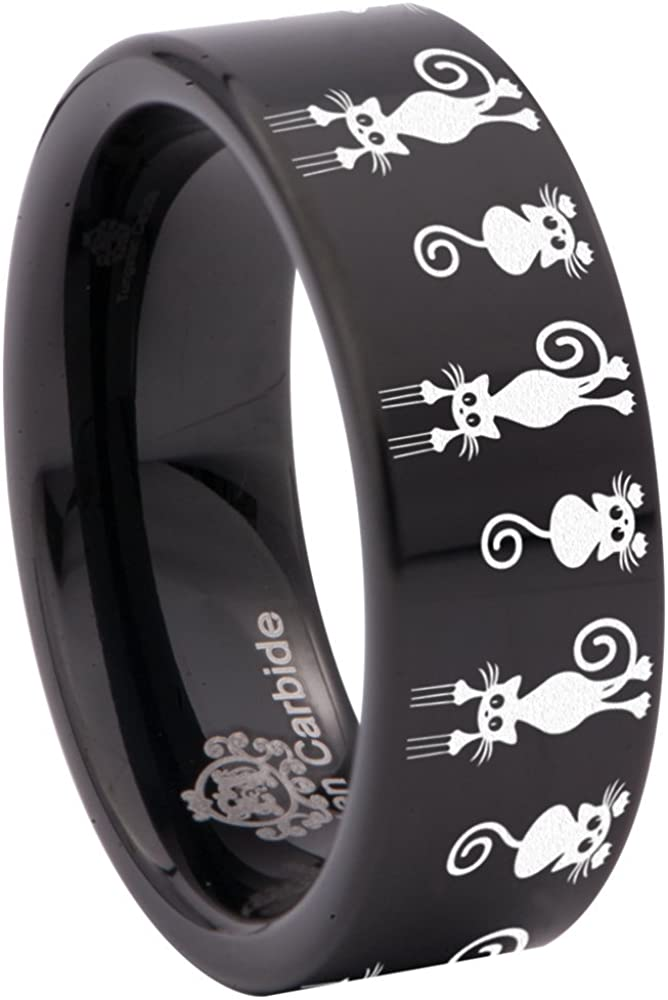 Friends of Irony Tungsten Carbide Falling Cat Animal Inspired Wedding Band Anniversary Ring for Men and Women 8mm