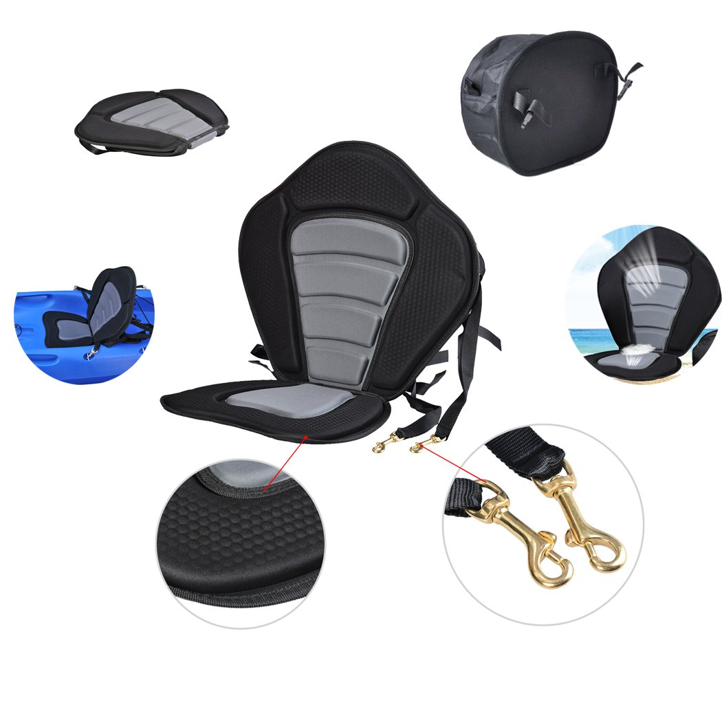 CANHOT Universal Breathable Padded Eva Kayak Seat for Canoeing, Drafting, Rafting, Fishing with Detachable Bag, Straps Adjustable, Foldable, Black and Gray
