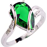 YAZILIND Vintage Wedding Emerald Waterdrop Crystal Silver Plated Statement Ring For Women