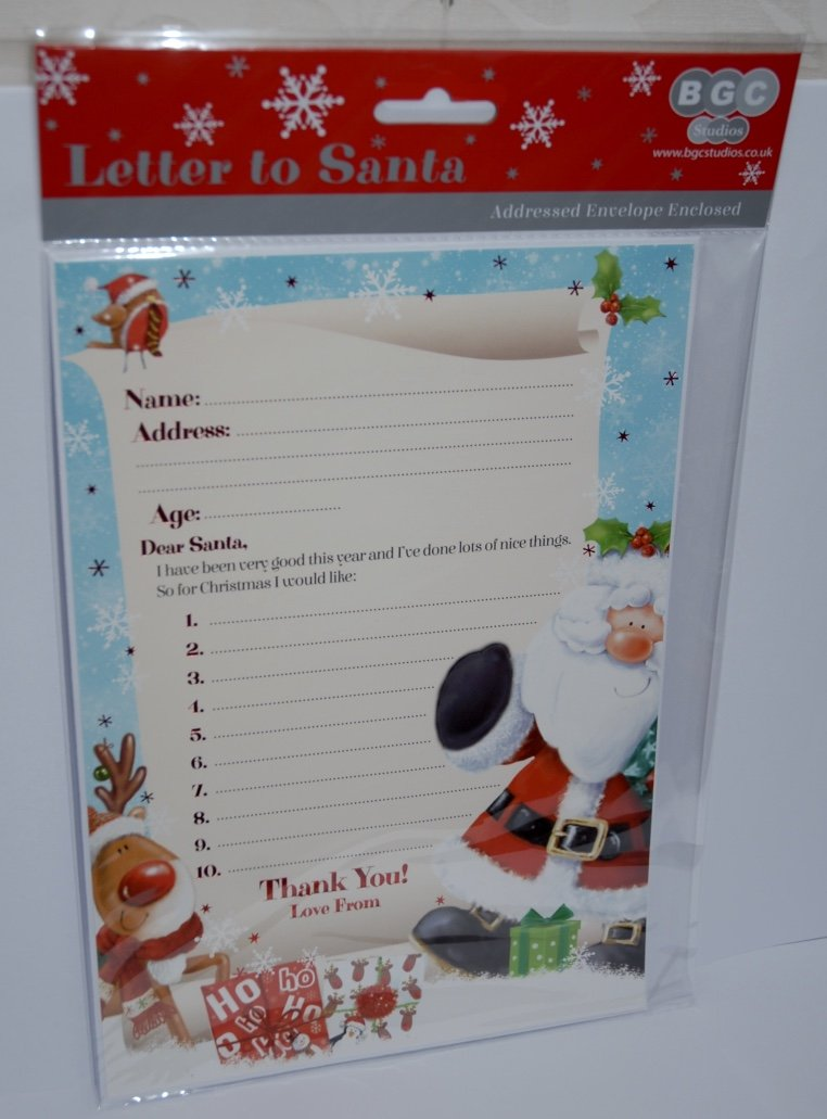 Letter To Santa Pack Complete with Letter and Pre Addressed White Envelope : - Letter has pictures of Santa, Rudolf, and a Robin BGC Studios